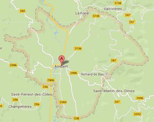 Carte GoogleMaps de la commune d'Ambert (63600)