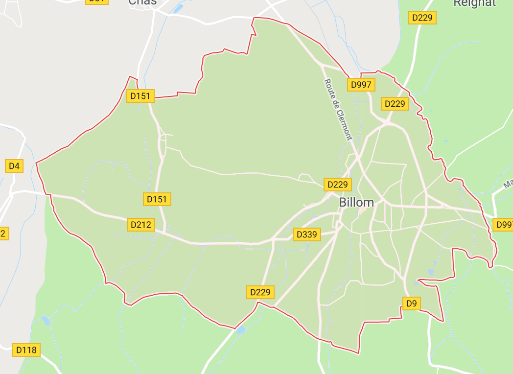 Carte GoogleMaps de la commune de Billom (63160)